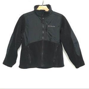 Columbia kids black zip up overlay fleece jacket
